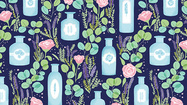 Smell Those Aromatherapy Oils Fabric Pattern Zoe Feast Surface Pattern Designer